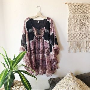 FREE PEOPLE PINK & BLACK FLORAL TUNIC BLOUSE M